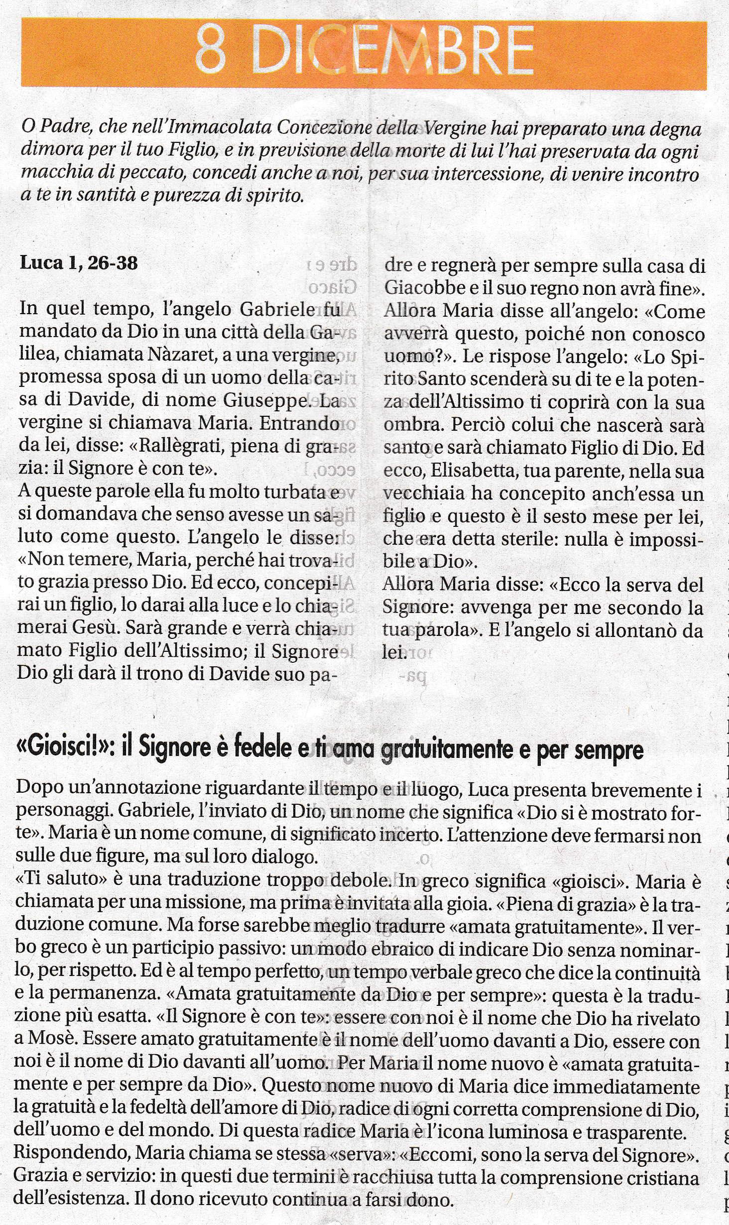8 dicembre, - sussidio a cura di mons. Enrico Solmi, Vescovo di Parma
