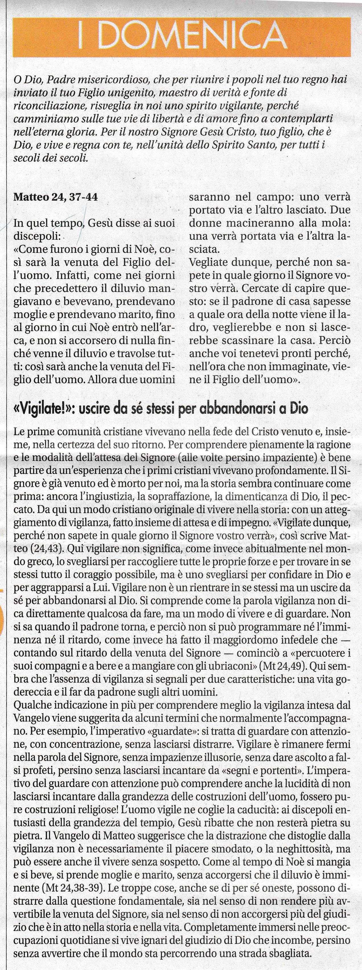 I DOMENICA AVVENTO - sussidio a cura di mons. Enrico Solmi, Vescovo di Parma