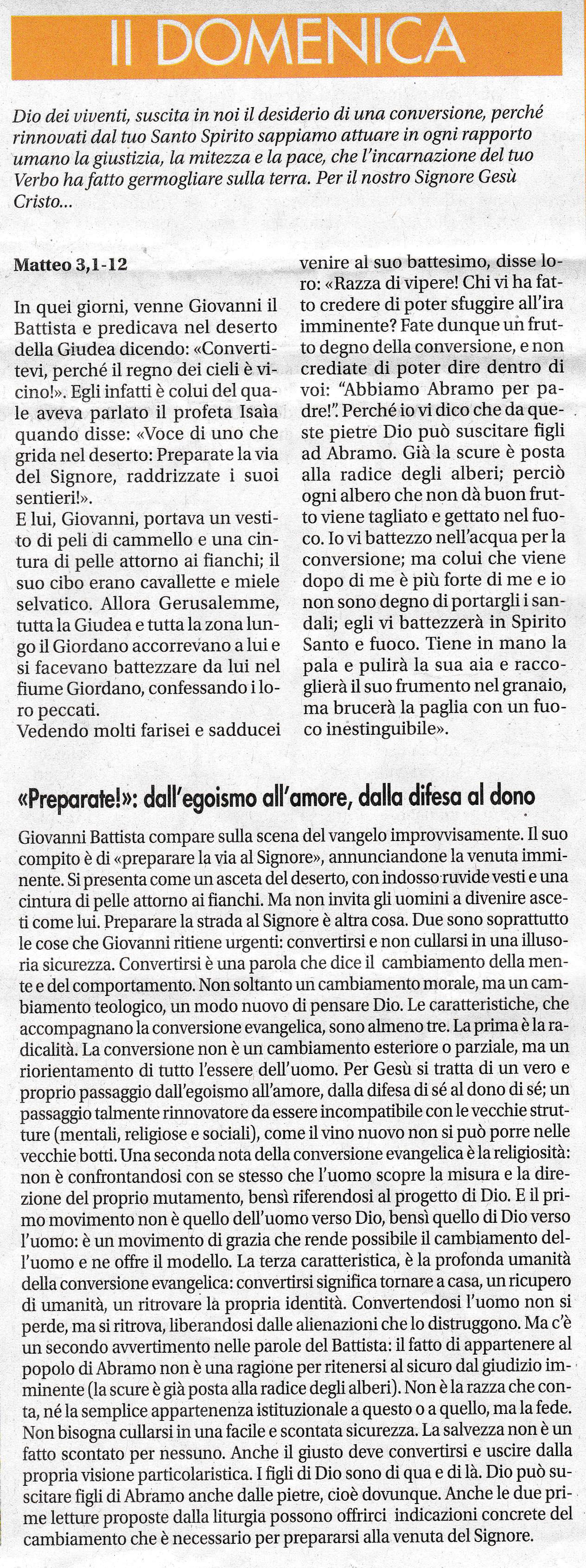II DOMENICA di Avvento - sussidio a cura di mons. Enrico Solmi, Vescovo di Parma
