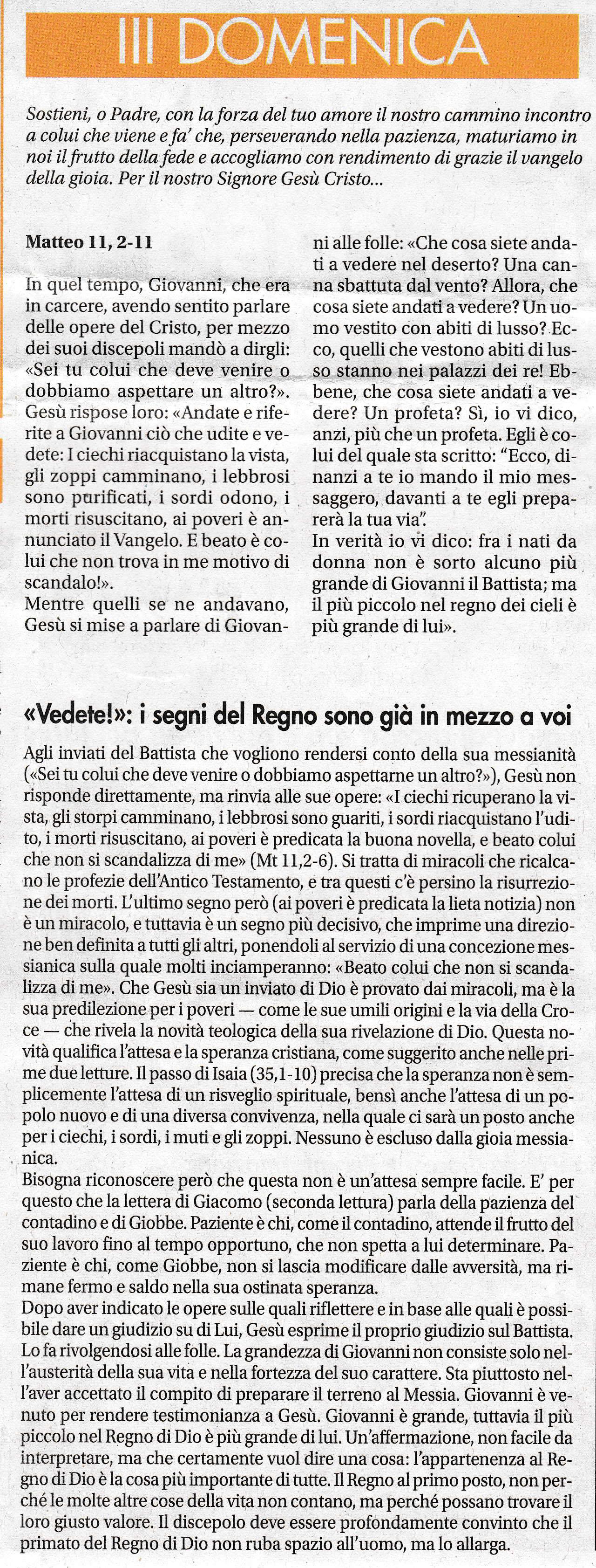 III DOMENICA di Avvento - sussidio a cura di mons. Enrico Solmi, Vescovo di Parma